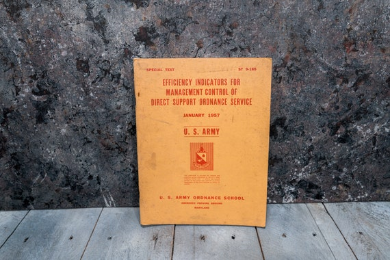 Vintage 1950s U.S. Army Ordnance School Manual Management Control Direct Support Man Cave War Soldier