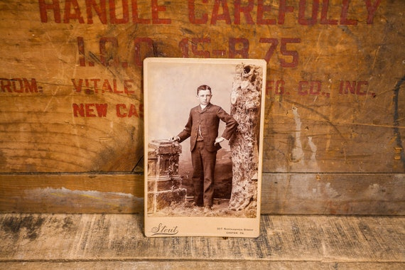 Antique Cabinet Card Photography Young Boy Photo Stout Photograph Photo Props Easton PA