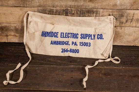 Vintage Ambridge Electric Supply Co. Apron Hardware Building Supplies Store Apron Advertising