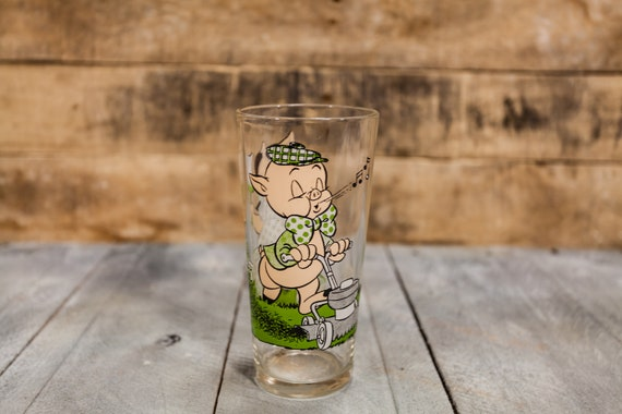 Vintage 1970s Porky Pig Petunia Pig Collectable Glass Pepsi