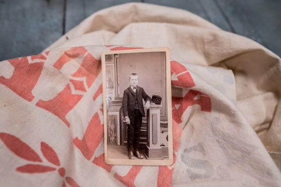 Antique Cabinet Card Photography Photo Young Boy Photograph Photo Props