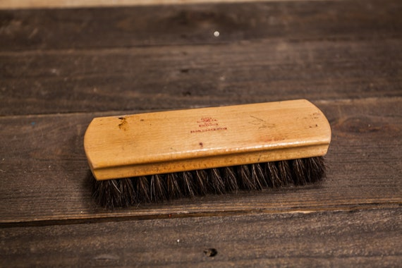 Vintage OXCO Shoe Shine Brush Wood Brush Rustic Polish Brush Man Cave Horsehair