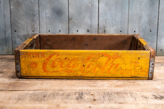 Vintage Coca Cola Soda Pop Wooden Crate Primitive Box Carrier Yellow Red Wooden Metal Rustic Distressed