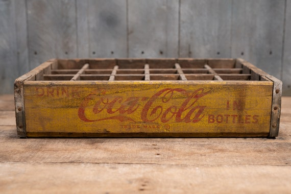 Vintage Coca-Cola Soda Pop Wooden Crate Primitive Box Carrier Yellow Red Distressed 24 Bottle Carrier