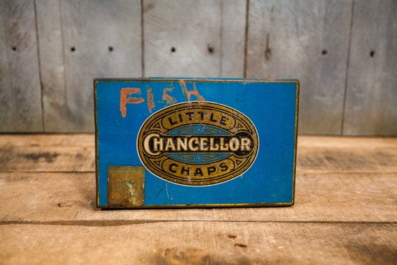 Vintage Little Chancellor Chaps Tobacco Tin Pipe Cigarette Rustic Tin Blue Gold