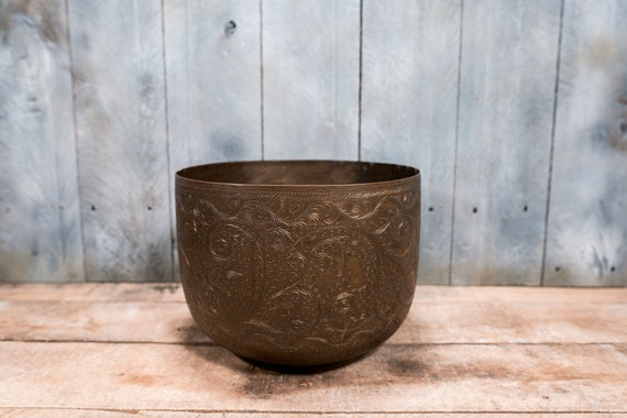 Vintage Rare Indian Engraved Brass Bowl Handmade Rustic Decorative Home Decor