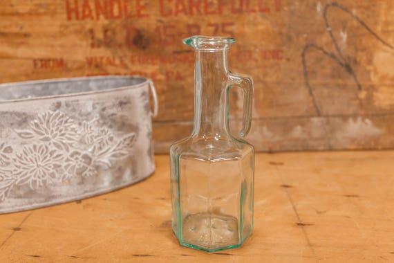 Vintage Mod Dep Glass Bottle Decanter 250 ml Vinegar Oil Kitchen Decor Retro Collectible Italian Glass Bottle
