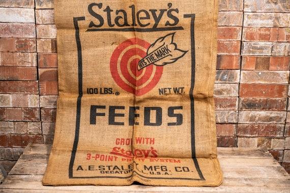 Vintage Staley's Feeds Burlap Sack Rustic Primitive Farmhouse Country Advertising Bullseye