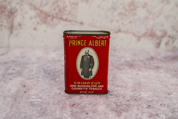 Vintage Prince Albert Tobacco Tin White Red Man Cave Decor Cigarette Pipe Advertising