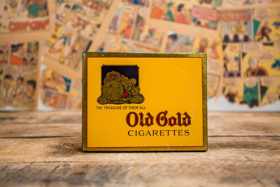 Vintage Old Gold Cigarettes Tin Yellow Tobacco Tin Tobacciana Man Cave Rustic Advertising