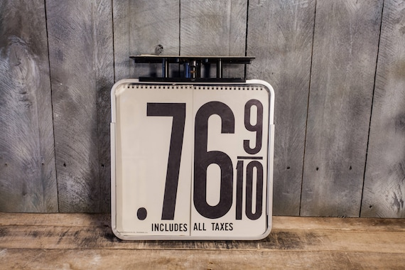 Vintage Gas Price Sign Empro Products Flip Book Black White Man Cave Garage Car Decor Gas Automotive Decor