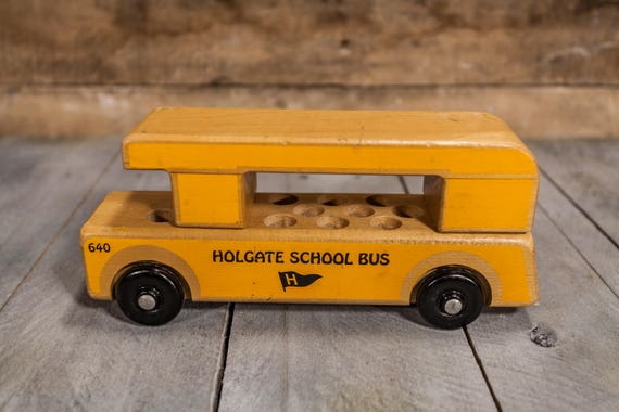 Vintage 1980s Holgate Wooden School Bus #640 Toy Yellow Kids Toy Nursery Decor