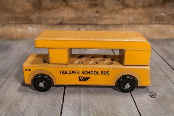 Vintage 1980s Holgate Wooden School Bus #640 Toy Yellow Kids Toy Nursery Decor