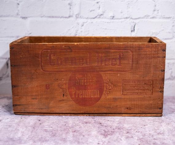 Vintage Swift's Premium Corned Beef Wooden Crate Primitive Box Carrier Wooden Rustic Argentina