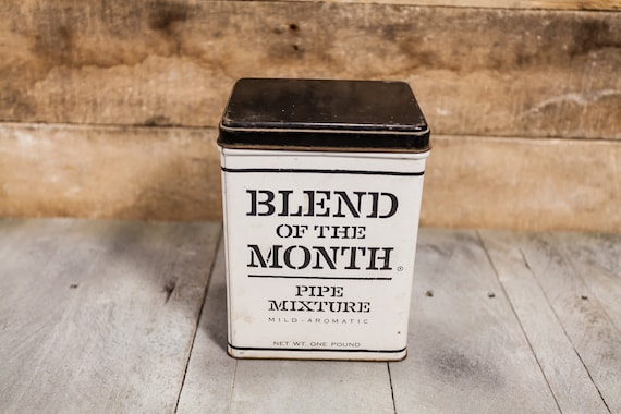 Vintage Blend of the Month Pipe Mixture Tobacco Tin White Black Teal Man Cave Decor Cigarette Pipe Advertising Kentucky Club