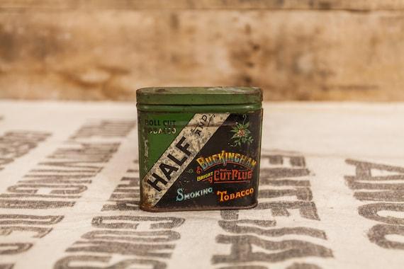 Vintage Half and Buckingham Bright Cut Plug Smoking Tobacco Tin Pipe Cigarette Rustic Tin
