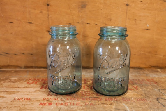 Vintage Ball Perfect Mason Jars Embossed Aqua Blue Glass Canning Jar Wedding Kitchen Country Farmhouse Decor