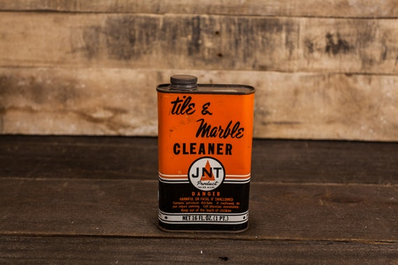 Vintage JNT Tile and Marble Cleaner Tin Orange Black White Advertising Tin JNT Mfg Co Stormville NY