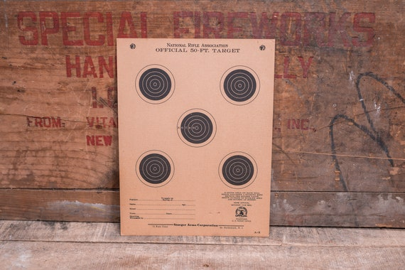 Vintage NRA 50 ft Target National Rifle Association Stoeger Arms Corp Advertising Hunting Man Cave Cabin Decor Lot of 5