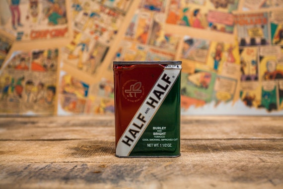 Vintage Burley and Bright Half & Half Pipe Tobacco Tin Green White Red Tobacciana Man Cave Rustic