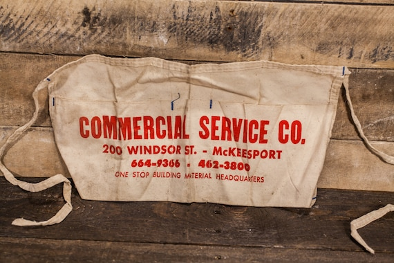 Vintage Carpenter Apron Commercial Service Co. Mckeesport PA Hardware Building Supplies Store Apron Advertising