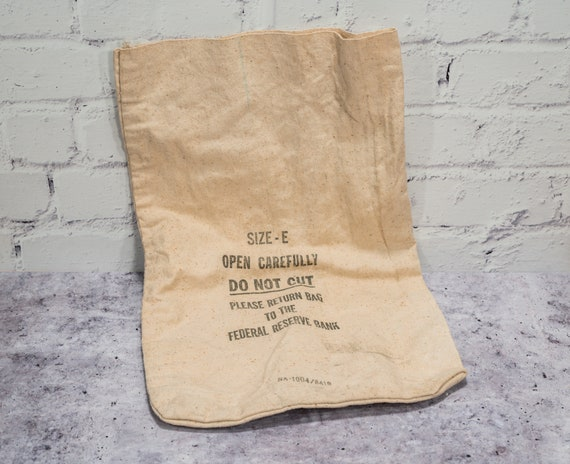 Vintage Federal Reserve Bank Bag Money Bag Rustic Photography Theatre Prop