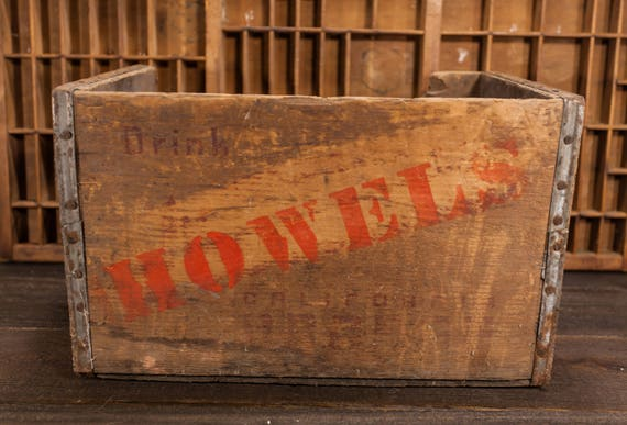 Vintage Howel's Wooden Crate Soda Pop Orange Primitive Box Carrier Country Rustic Home Decor Man Cave Distressed Farmhouse