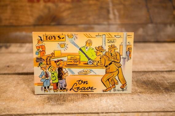 Vintage Comic Cartoon Postcard Novelty Humor Risque Cartoon Souvenir Military