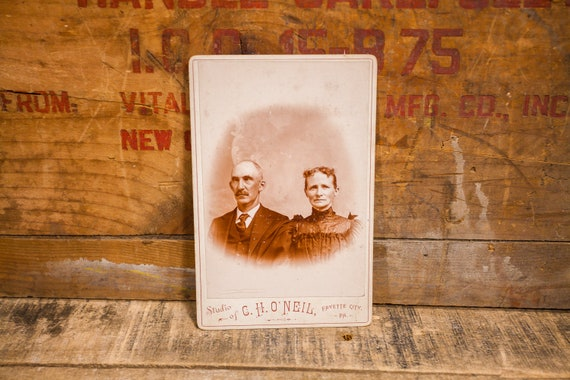Antique Cabinet Card Photography Couple Husband Wife Photo C.H. O'Neil Photograph Photo Props Fayette City PA