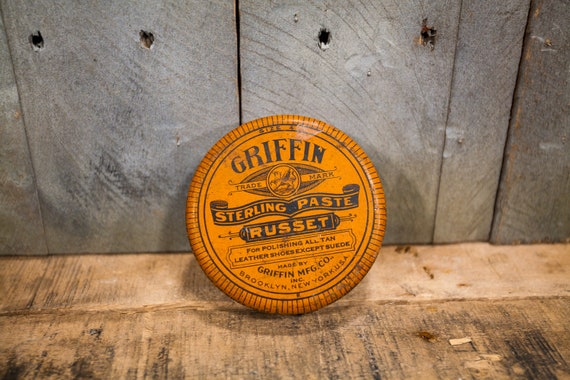 Vintage Griffin Shoe Polish Tin Orange Griffin Mfg Co Brooklyn NY Man Cave Rustic Collectable Tin Shoe Shine