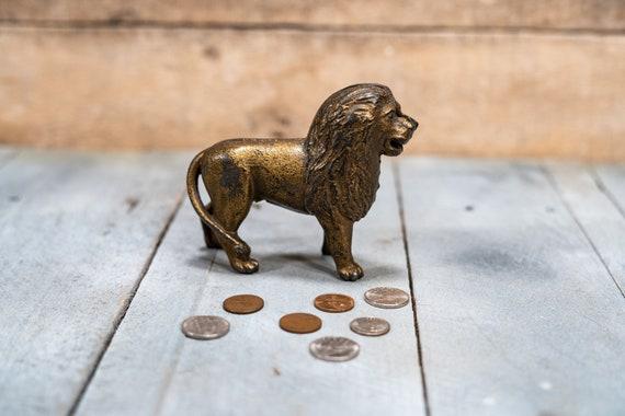 Vintage Cast Iron Lion Coin Bank Piggy Bank Man Cave Rustic
