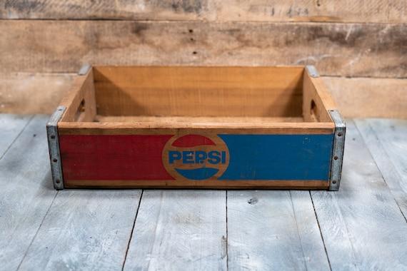 Vintage Pepsi Soda Pop Wooden Crate Primitive Box Carrier Blue Red Wooden Metal Rustic Distressed
