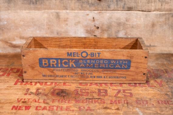 Vintage Mel-O-Bit Brick American Cheese Wooden Crate, Cheese Box, Advertising Wooden Cheese Crate