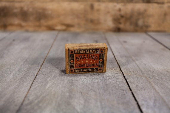 Vintage Bryant & May's Braided Cigar Lights Matchbox Advertising Box London England Tobacco Cigarette Cigar Man Cave Decor Advertising