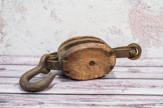 Vintage Madesco Products Double Wooden Pulley Rustic Industrial Primitive Barn Pulley Iron Hook Block Pulley Nautical Maritime Easton PA
