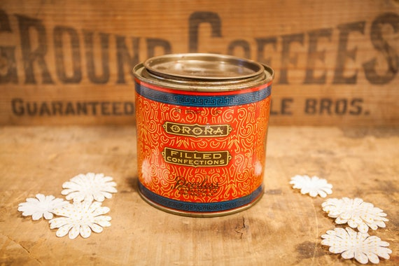 Vintage Orora Peerless Maid Candy Tin Chicago Red Gold Blue Candy Tin Box Collectable Home Decor Kitchen Decor