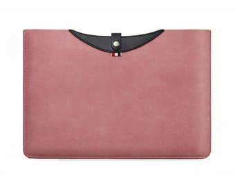 "Macbook Pro Sleeve 13 inch Leather Laptop Sleeve Pink Macbook Pro Case for Pro Retina 13.3/ iPad Pro 12.9""/ Mac Pro Touchbar 13/ Dell XPS 13"