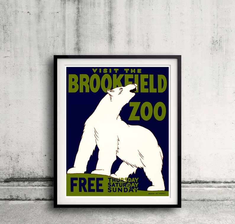 Visit the Brookfield Zoo 1936 Polar Bear WPA Federal Art Poster 18x24