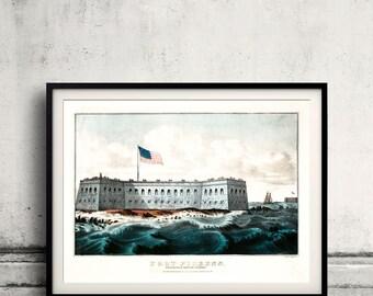 Fort Pickens, Pensacola Harbor, Florida - 1860 - Fine Art Glicée Poster Digital Wall art Illustration Print Decorative- SKU 0108