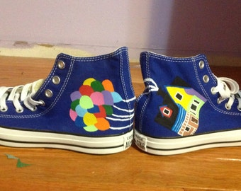 UP Painted Blue Converse High Tops