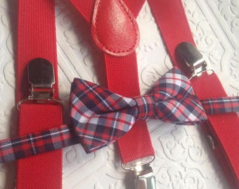 Baby suspenders and bow tie, red baby bow tie, baby bow tie, suspenders, red suspenders set, wedding bow tie, plaid baby bow tie, newborn