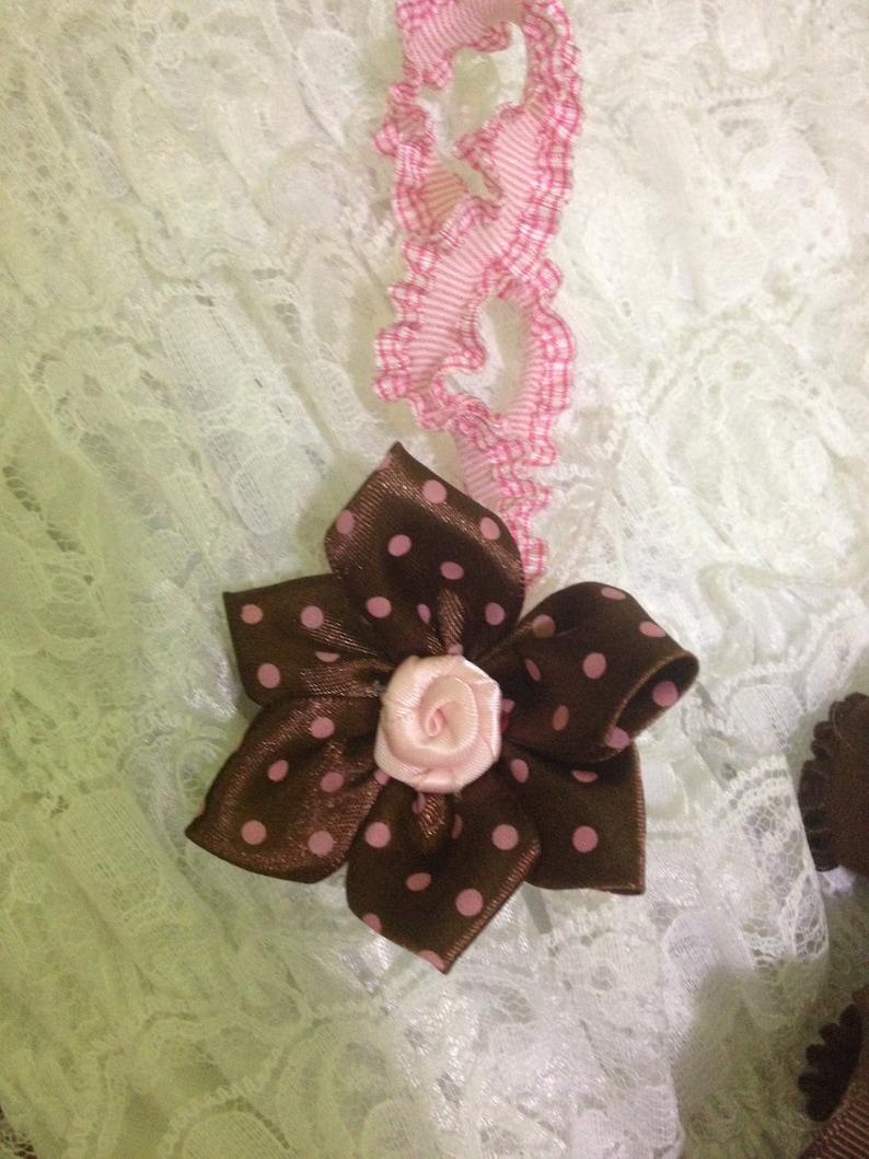 pink and brown baby headband Polka dot baby headband chocolate baby headband pink polka dot headband fall headband pink rose headband