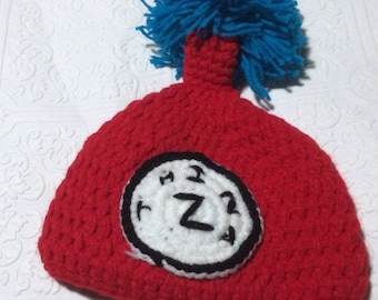 Baby hat, Christmas baby hat, crochet baby hat, red and blue hat, baby knit hat, thing 2, winter baby hat, crochet hat, cat in hat,thing two