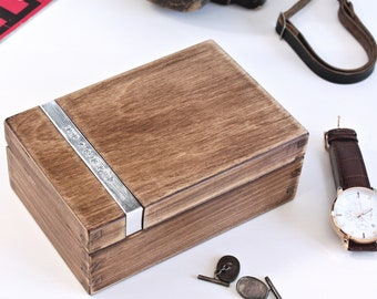 Personalised Wooden Cufflink Box - Mens watch box - fathers day gift - 5th anniversary gift - handcrafted wooden keepsake - jewellery box