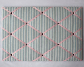 Baby blue stripe fabric notice board (many different coloured ribbons and sizes)