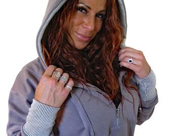 """Hoodie """"Cozy2"""", loose hooded sweater, grey zipped sweatshirt, warm sweat with big hood, zip hoodie in grey."""