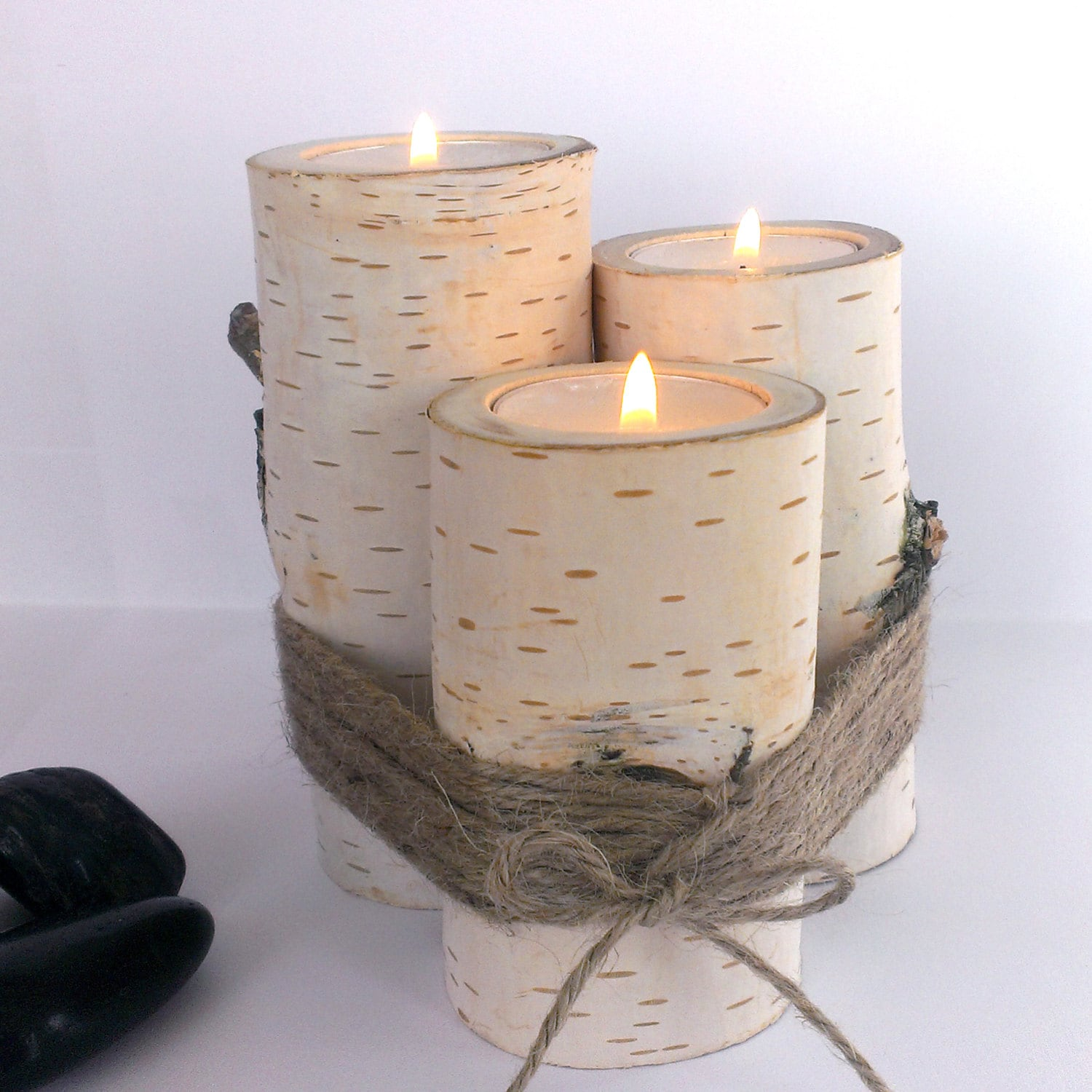 Wooden Candle Holders, Tree Branch Candle Holders, Home Decor, Tea Light Holder, Rustic Centerpiece, Woodland, Candle Holder, Birch Tree Log