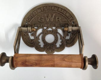 Antique Iron Vintage Style GWR Toilet Roll Holder Cast Finished In Great Western Railway