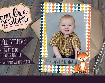 Woodland Invitation Reverse, Photo Invitation, Woodland First Birthday, Second Birthday, Third Birthday, Woodland Birthday Party Invitation