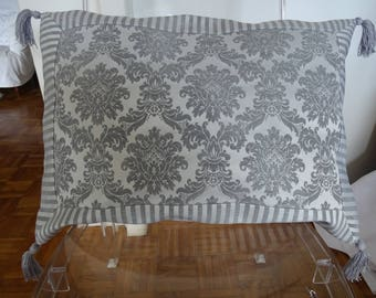 """Large cushion cover """"great century"""" in shades of gray"""